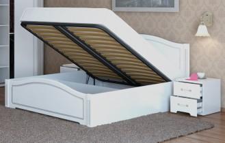 Кровать двуспальная с подъемным механизмом «Виктория» белый глянец