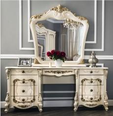 Туалетный стол (с зеркалом) + пуфик «Энрике» крем глянец