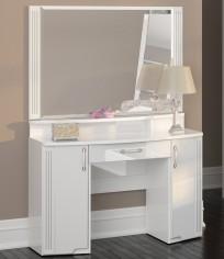 Стол туалетный (06) «Виктория» (полки и зеркало отдельно) белый глянец