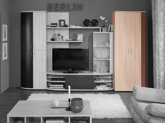 модульная гостиная Berlin 9 шкаф для одежды шоколад глянец купить