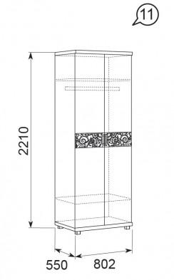 Шкаф для одежды   2-х дверный 11 «Ирис» Бодега светлый