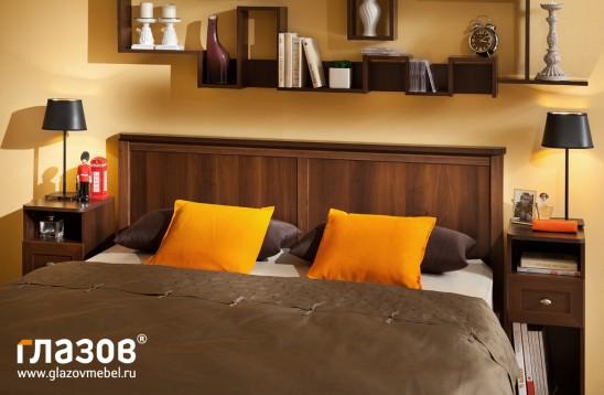 «Sherlock»  Кровать двуспальная + металл основание орех шоколадный