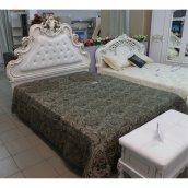 Двуспальная кровать высокая КМК 0456.6 «Розалия» (Белое+золото)