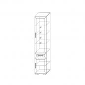 Шкаф 450 со стеклом (5) гостиная «Парма Люкс» Венге