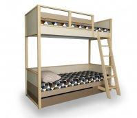Кровать 2х-ярусная с ящиком выкатным и лестницей «Робин Wood»