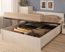 Двуспальная кровать с подъемным механизмом «BERLIN» Бодега Светлый