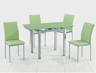 Обеденная группа Стол В179-64 + 4 Стула С-555 Салатовый