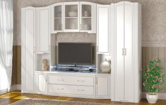 Модульная мебель для гостиной «Виктория» Белый глянец