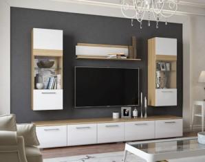 Модульная стенка в гостиную «Элен» глянец белый