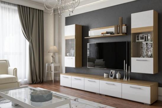 Модульная мебель для гостиной «Элен» глянец белый