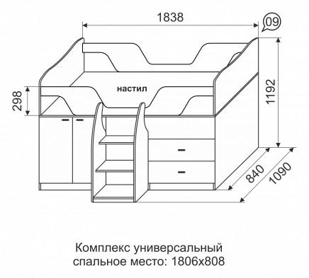 Детская кровать комплекс универсальный 09 «Квест»