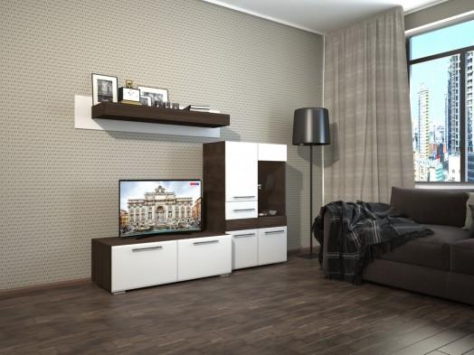 Модульная стенка горка в гостиную «Гермес» глянец
