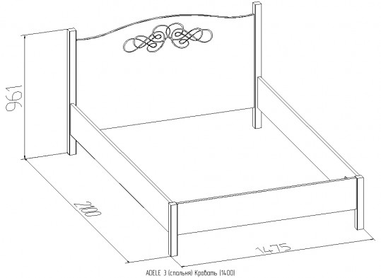 «ADELE» Кровать двуспальная / односпальная + металл основание
