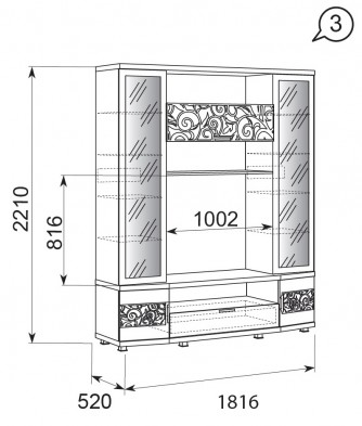 Шкаф-стеллаж многоцелевой 03 «Ирис» Бодега светлый