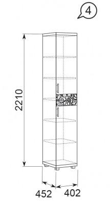 Шкаф-пенал комбинированный (2 двери 1 ящик) 04 «Ирис» Бодега светлый