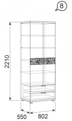 Шкаф для белья с ящиками  2-х дверный 08 «Ирис» Бодега светлый