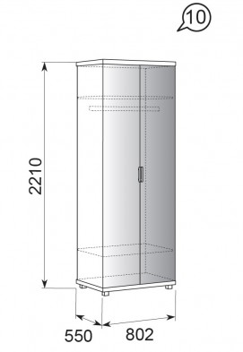 Шкаф для одежды с зеркалом  2-х дверный 10 «Ирис» Бодега светлый