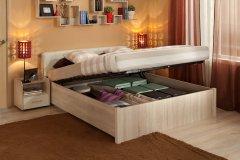 «BERLIN» Двуспальная кровать с подъемным механизмом Дуб Сонома